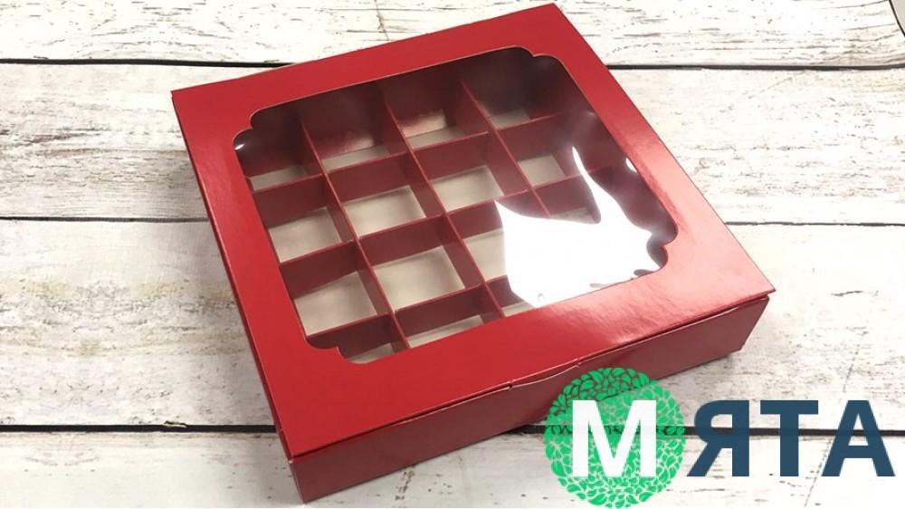 Коробка для конфет, 16 штук, красная с окном