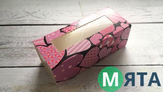 Коробка для макаронсов Фиолетовые сердечки