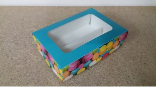 Коробка для макаронсов. Голубая