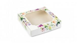 Коробка для пряников, 15х15 см, Цветы Акварель