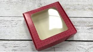 Коробка для пряников 15х15х3 см, Розовые Сердца