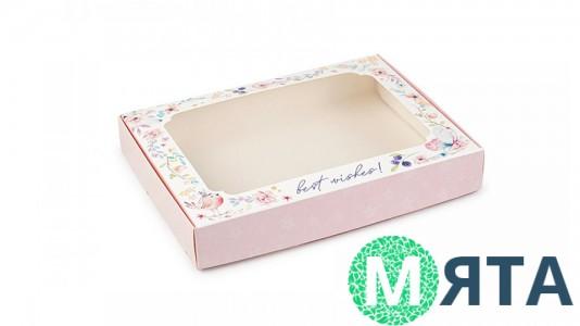 Коробка для пряников 15х20х3 см, розовая с птичкой