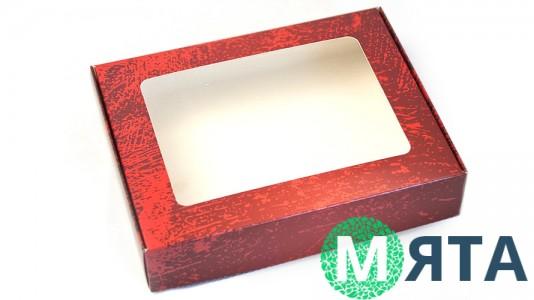 Коробка для пряников 15х20х4 см, Красная текстура