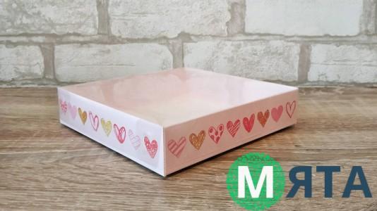 Коробка для пряников 16х16х3 см, Сердечки