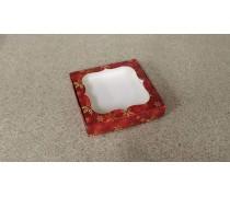Коробка для пряников Красная-Золотые Снежинки, 15х15х3 см