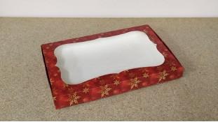 Коробка для пряников Красная-Золотые Снежинки, 20х30х3 см