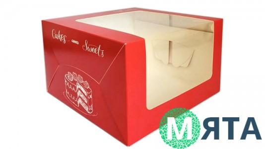 Коробка для торта 25х25х15 см, Красная