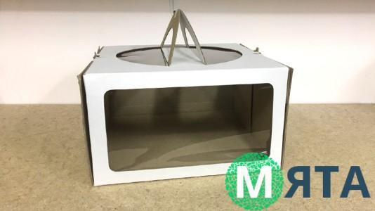 Коробка для торта 26х26х15, окно-ручки