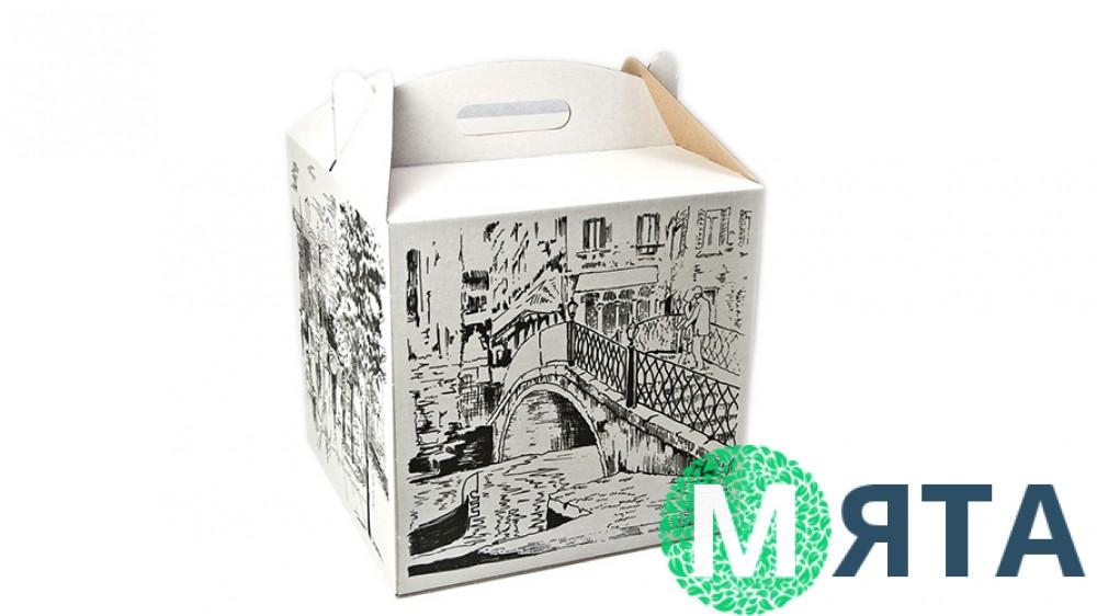 Коробка для торта 30х30х30 принт