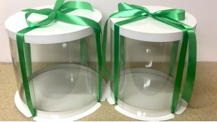 Коробка для торта круглая, с прозрачной стенкой/ Белая