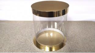 Коробка для торта круглая, с прозрачной стенкой/ Золото