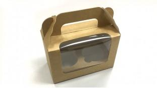 Коробка на 2 капкейка с ручкой, Крафт