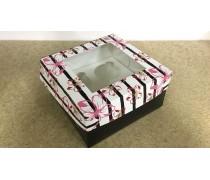 Коробка на 4 капкейка, Черная полоска