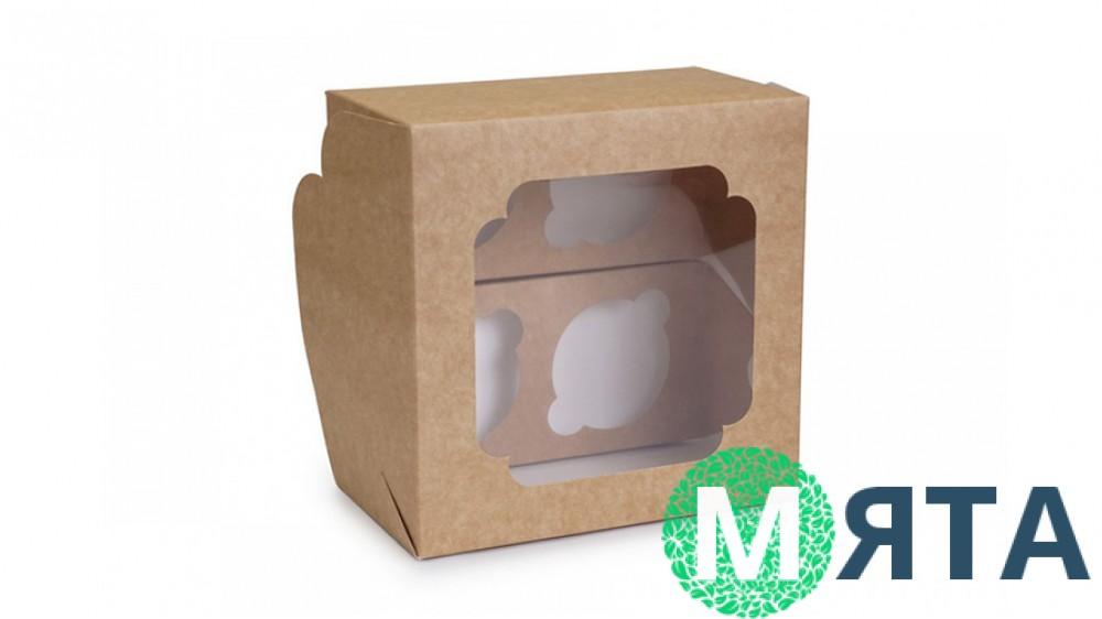 Коробка на 4 капкейка, Крафт