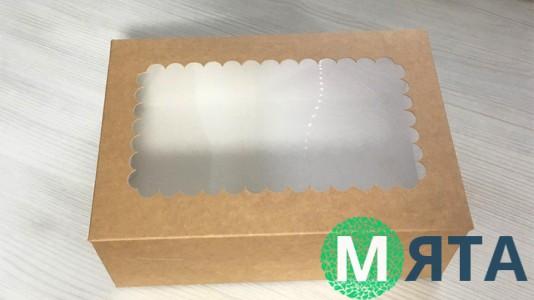 Коробка с окошком для 6 капкейков, крафт