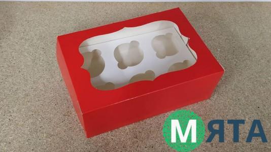 Коробка с окошком для 6 капкейков, Красная