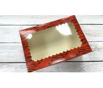 Коробка с окошком для 6 капкейков, Красный принт