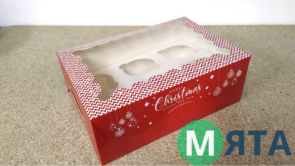 Коробка с окошком для 6 капкейков, Новогодняя Красная