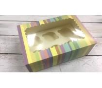 Коробка с окошком для 6 капкейков, Радуга