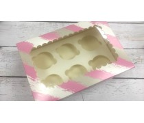 Коробка с окошком для 6 капкейков, Розовая Полоска