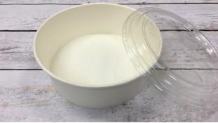 Круглая коробка для десертов с пластиковой крышкой, Белая