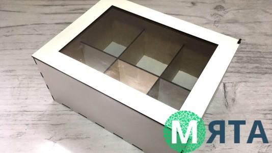 Деревянная коробка с окошком для 6 капкейков, Белая