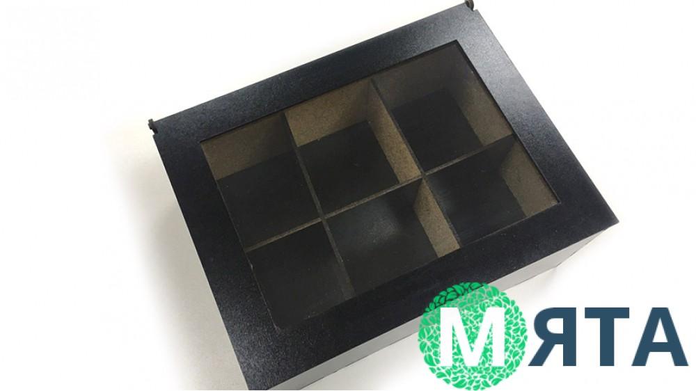Деревянная коробка с окошком для 6 капкейков, Черная