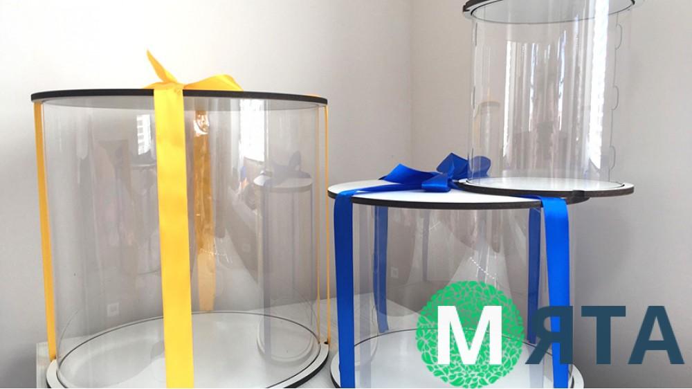 Прозрачная коробка для торта, белое двп. УЦЕНКА, потертые стенки