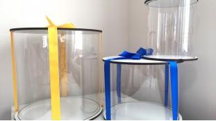 Прозрачная коробка для торта, белое двп