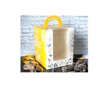Пасхальная коробка 16х16х20 см, Желтая