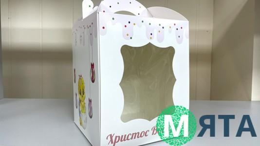 Пасхальная коробка 17х17х21 см, Принт с цыпленком