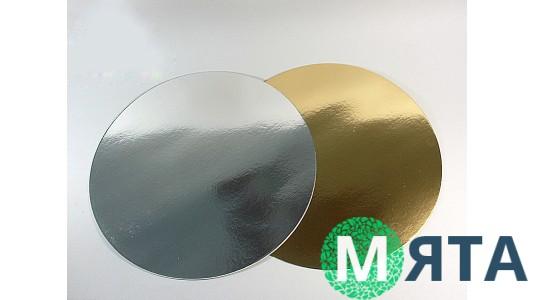Подложки под торт круглые, золото/серебро