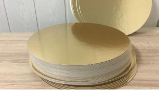 Подложки под торт односторонние, золотые, круглые