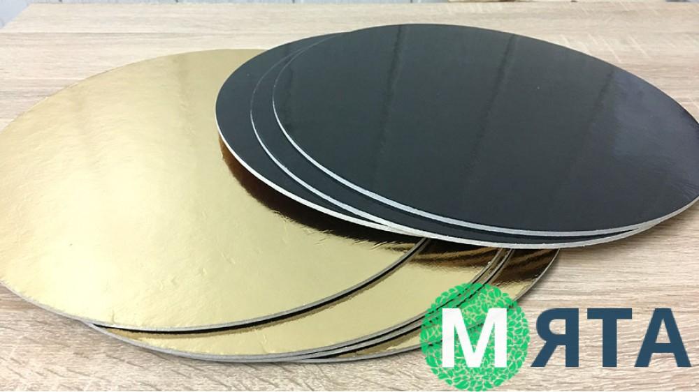 Подложки усиленные 3 мм. Круг, Золото/Черный