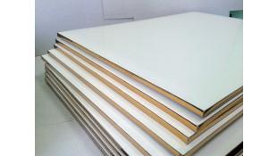 Подносы квадратные, белые/золото