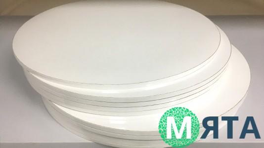 Подносы круглые, белые/белый торец
