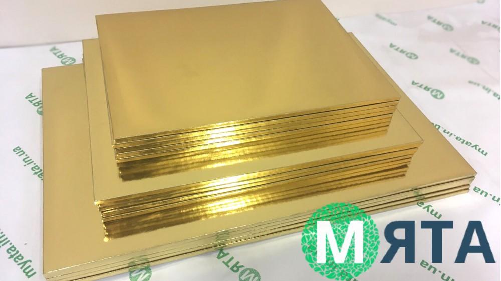Подносы прямоугольные, золото/золото