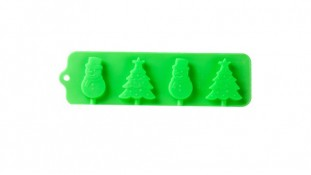 Силиконовая форма для леденцов Снеговики-елки