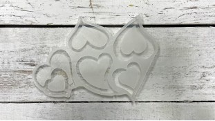 Силиконовый молд для леденцов Сердца №2, 5 шт