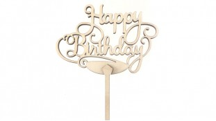 """Топпер """"Happy Birthday"""", дерево"""