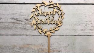 """Топпер """"Happy Birthday"""" №10, дерево"""