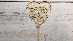 """Топпер """"Happy Birthday"""" №13, дерево"""