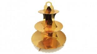 Подставка для капкейков 3-ярусная, золотая