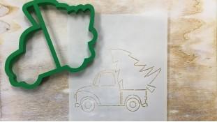 Вырубка + трафарет Машина с елкой